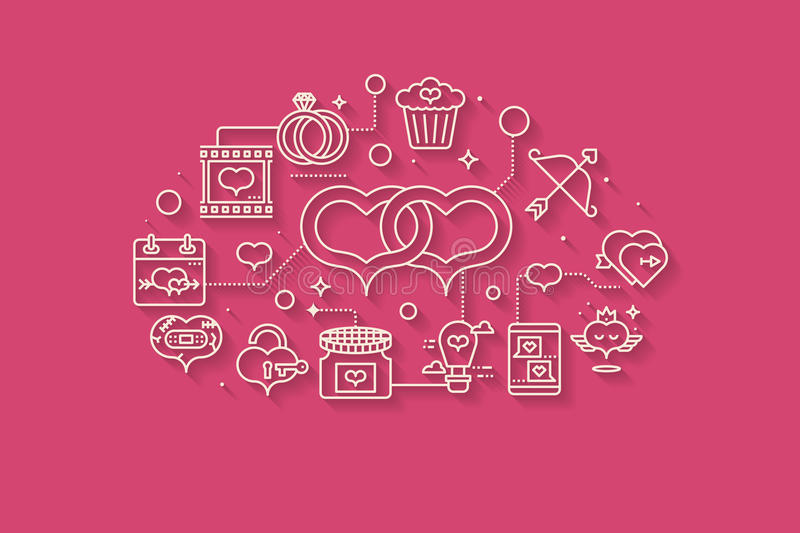Valentine concept line icons illustration royalty free illustration