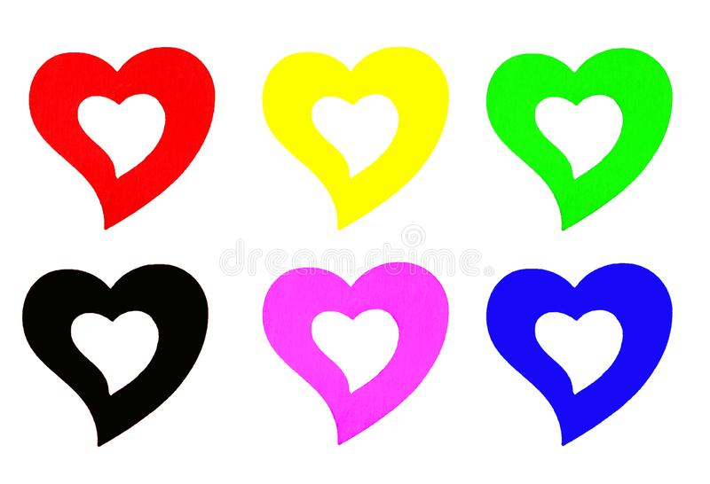 Valentine concept. Many colorful hearts isolated on white background. stock photos