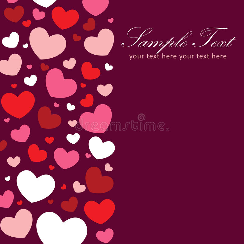 Valentine Congratulation Card With Hearts Stock Photo