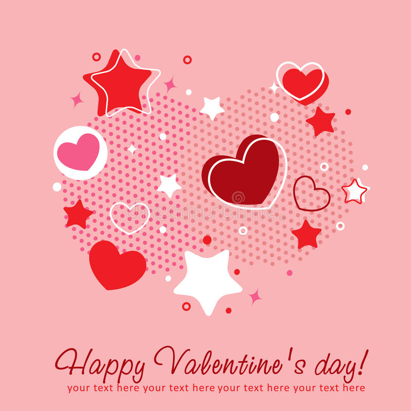 Valentine congratulation card with hearts. Cute Valentine love congratulation card with border of hearts vector illustration