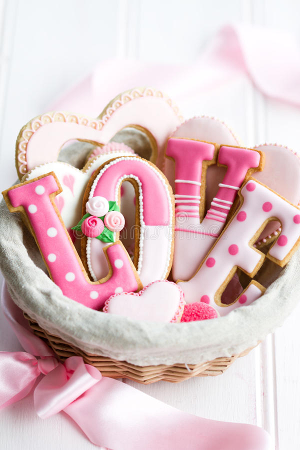 Valentine cookie gift basket stock image