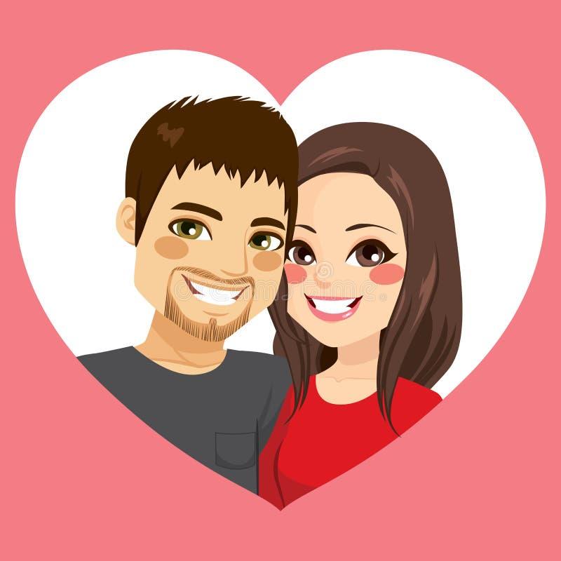 Valentine Couple Heart Frame royalty-vrije illustratie