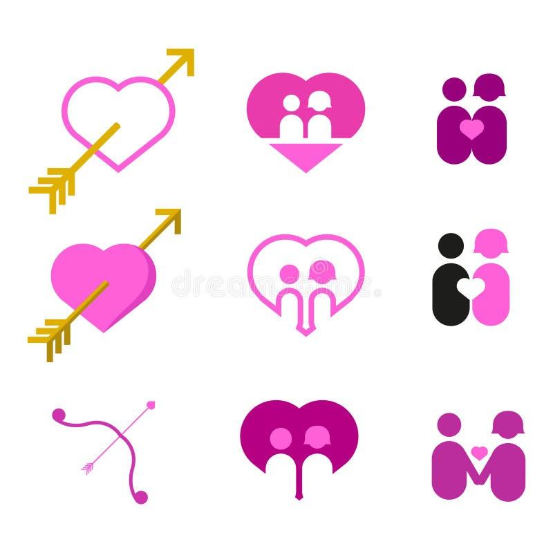 Valentine Couple Love Heart Vector-Illustratie Grafische Reeks stock illustratie