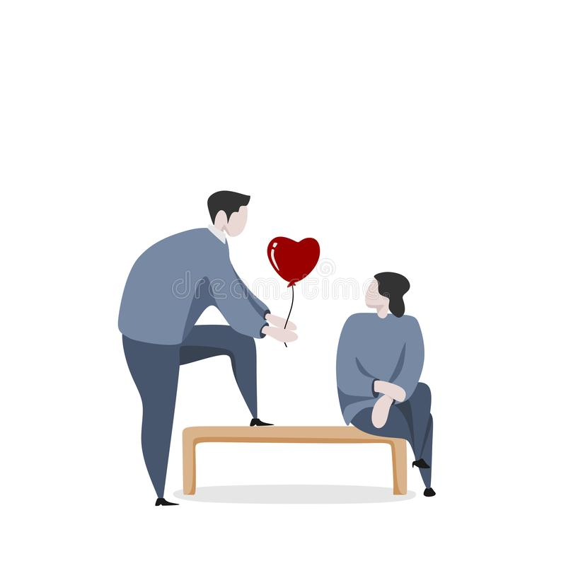 Valentine couple with young man and women dating concept vector illustration with cute character. Cute Valentine couple with young man and women dating concept royalty free illustration