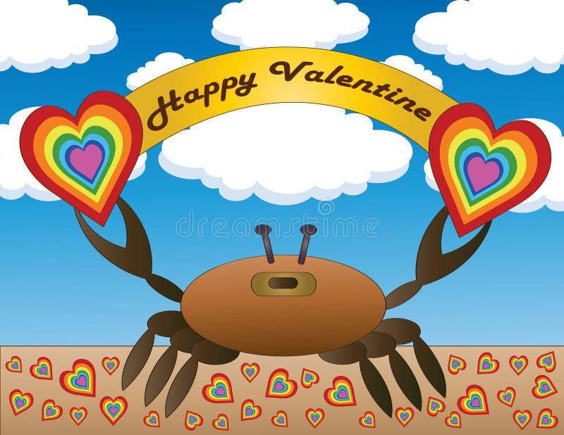 Valentine Crab feliz ilustração do vetor
