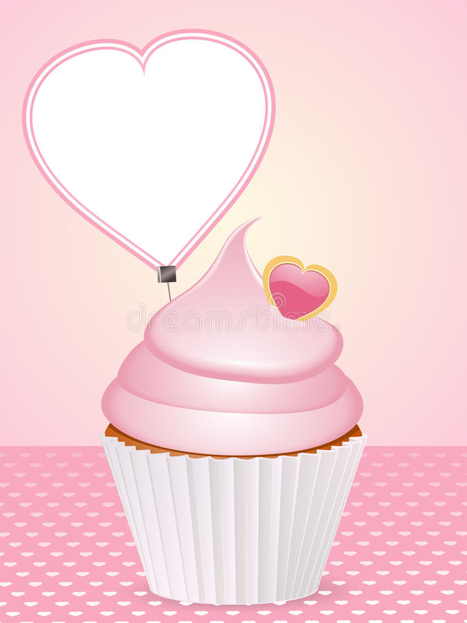 Valentine cupcake background stock illustration