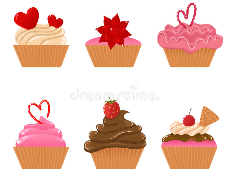 Download Valentine cupcakes stock vector. Image of cherry, baked - 12180486