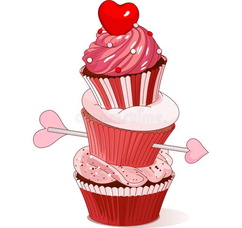 Valentine cupcakes stock illustratie