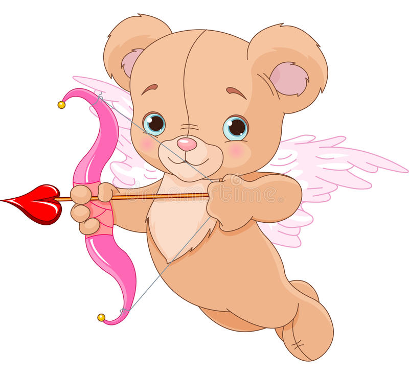 Free Valentine Cupid Bear Stock Photography - 36991712