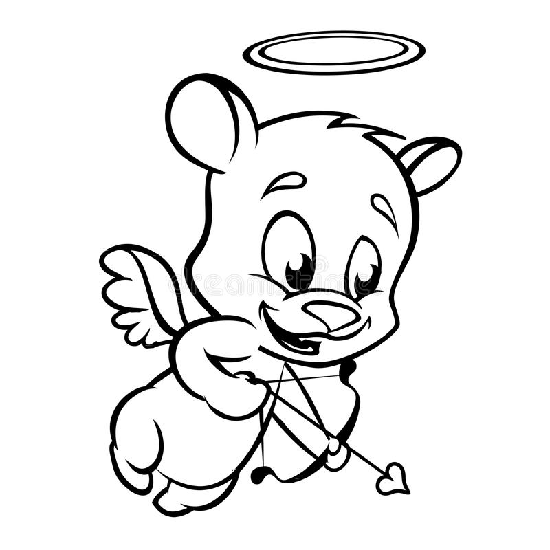 Free Valentine Cupid Bear Ready To Shoot His Arrow. Monochrome Vector Line Art Royalty Free Stock Images - 65807689