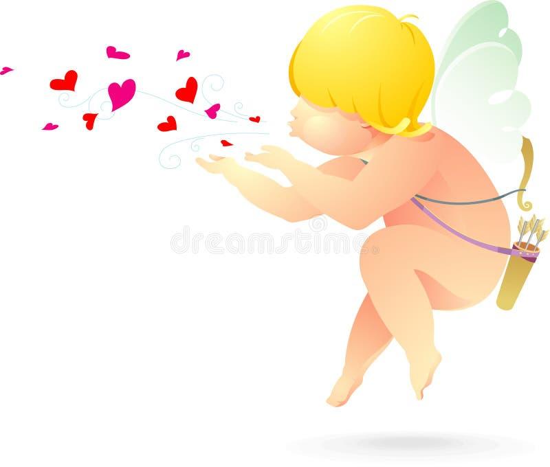 Valentine Cupid Blows vektor illustrationer