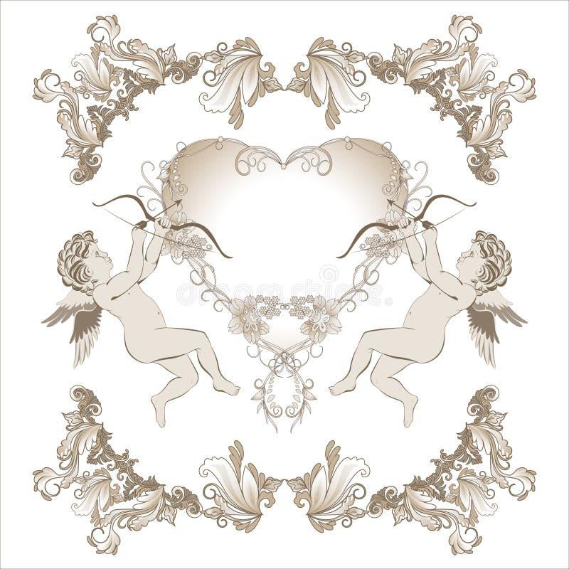 Valentine Cupid con el ornamento floral ilustración del vector