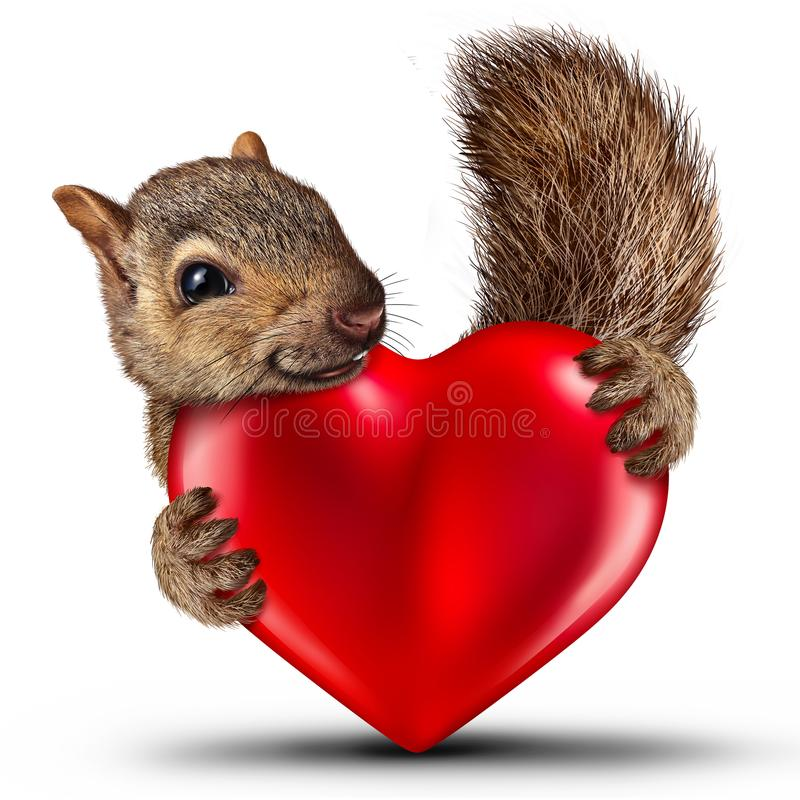 Valentine Cute Squirrel illustrazione vettoriale