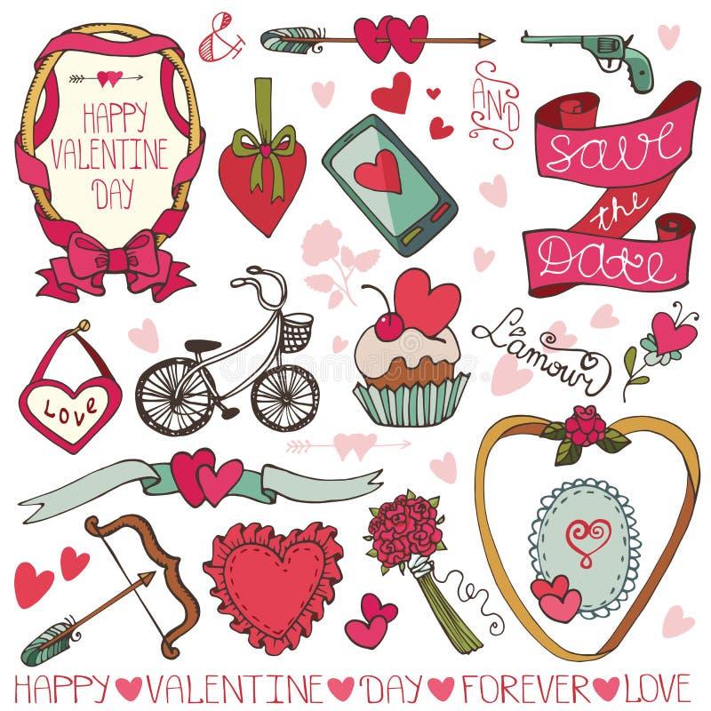 Valentine-dag, huwelijkskader, geplaatste decorelementen stock illustratie