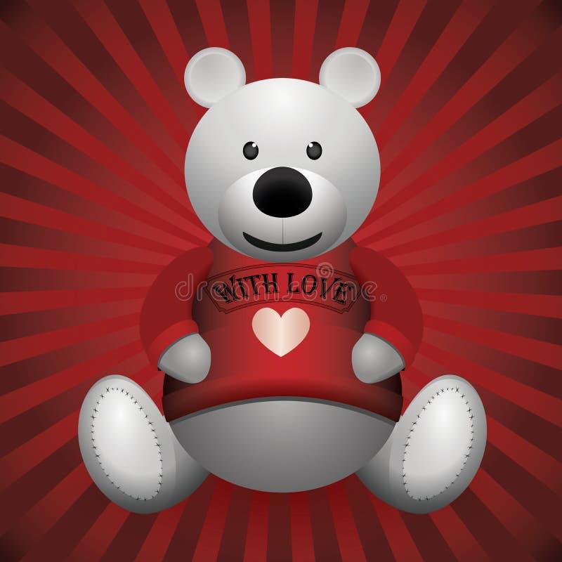 Valentine-dag witte teddybeer op houten achtergrond stock illustratie