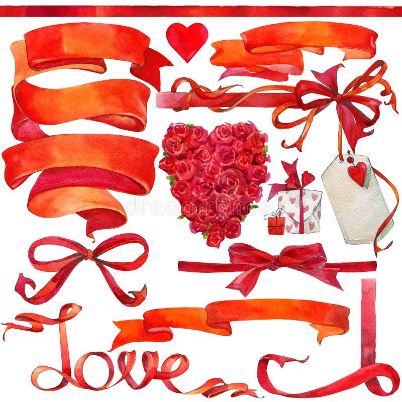 Valentine-dagachtergrond en elementen voor decoratie vector illustratie