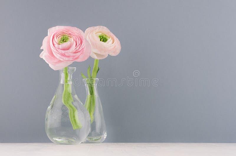 Valentine-dagachtergrond - verzacht roze bloemboeket met boterbloem in elegante vaas op zachte lichte witte houten raad en grijze stock foto