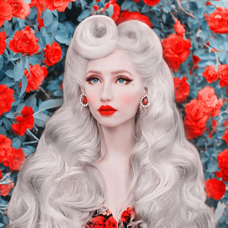 Valentine Day background. Beauty face. Fabulous blonde girl with stylish hairstyle and red lips on awesome rose background. Woman. Portrait. Awesome blonde royalty free stock photo
