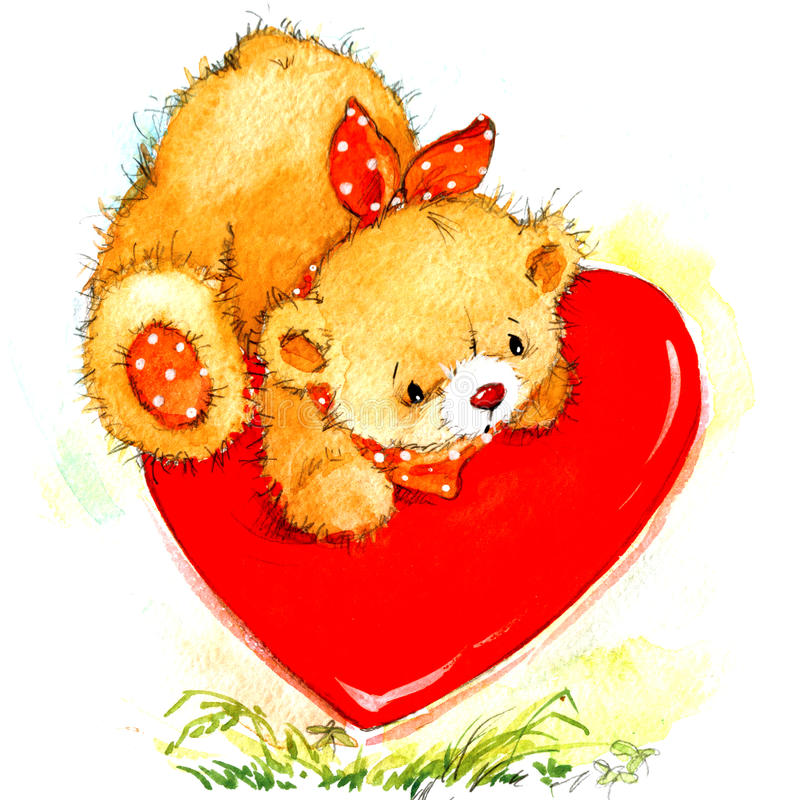 Valentine Day Background with cute toy bear and red heart. watercolor illustration. Valentine Day. Background for card with cute toy bear and red heart vector illustration