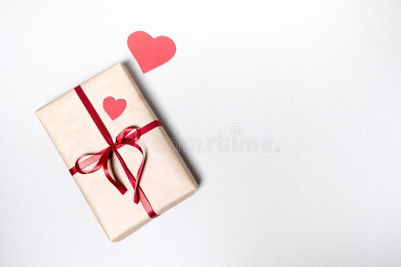 Valentine day background with gift boxes, red ribbon and hearts stock photography