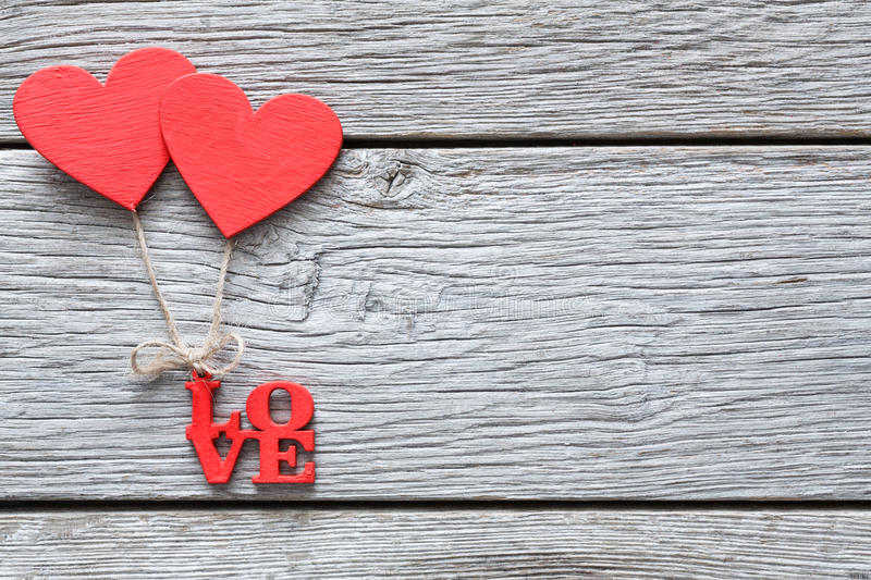 Download Valentine Day Background Handmade Hearts On Wood With Copy Space Stock Photo