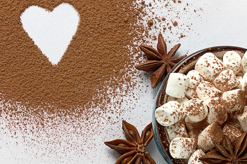 Valentine day background marshmellow, blue cup coffee cocoa powder star anis. Valentine day background marshmellow, blue cup coffee cocoa powder star anis stock images