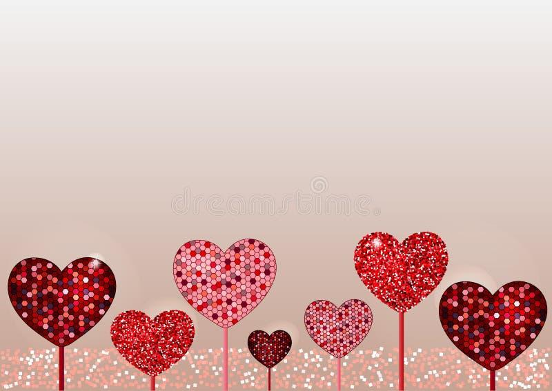 Valentine day background. Mosaic and glitter stock image
