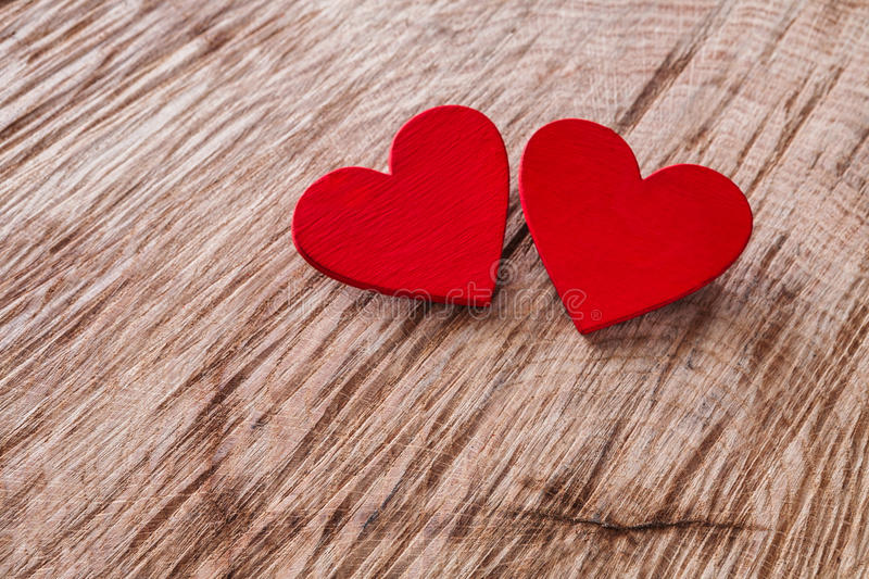 Download Valentine Day Background Wooden Hearts On Wood With Copy Space Stock Image