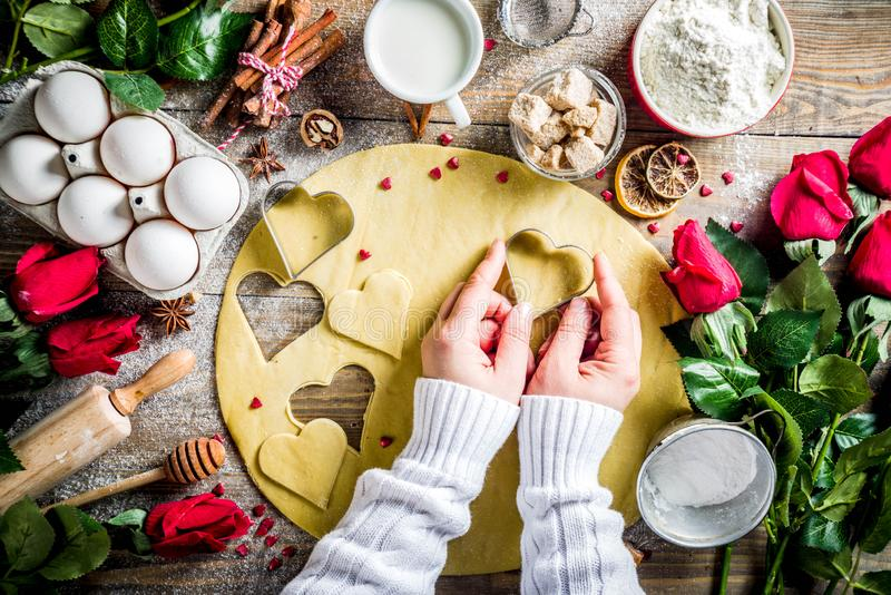 Valentine day baking background stock photo