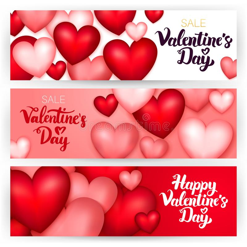 Valentine Day Banners feliz ilustração royalty free