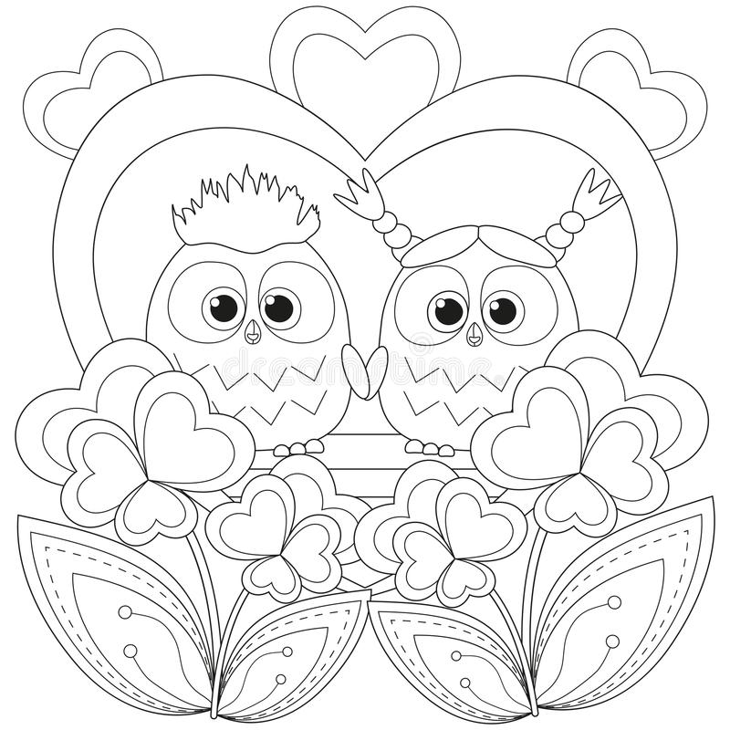Valentine day black and white poster with an owl couple. Coloring book page for adults and kids. Romantic vector illustration for gift card, flyer, certificate vector illustration