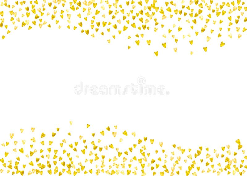 Valentine Day Border With Gold Glitter Sparkles February 14th Vector Confetti For Template Grunge Hand Drawn Texture