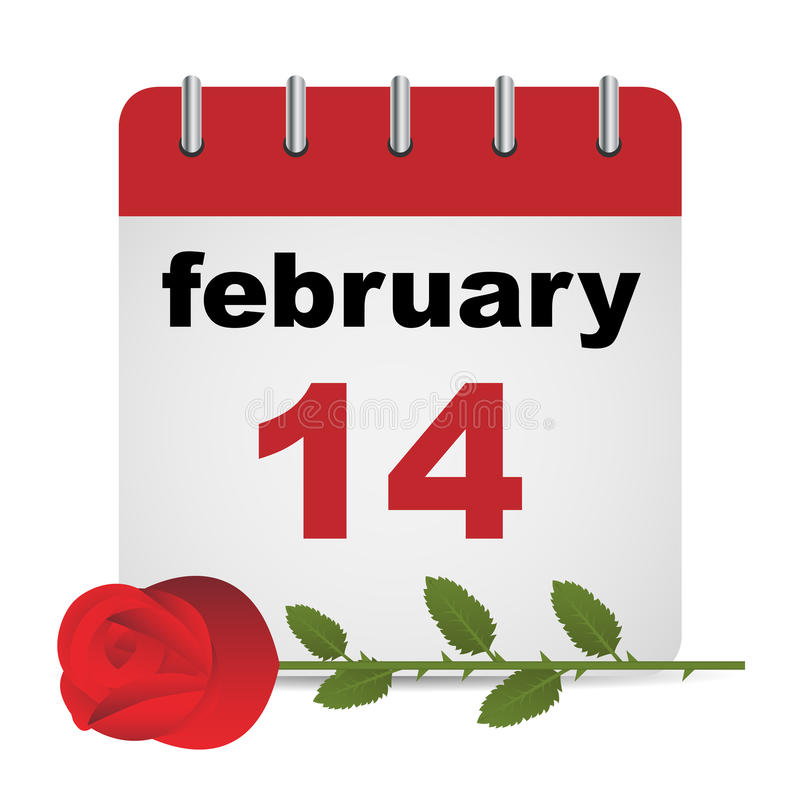 Valentine day calendar. Page and red rose on white background.EPS file available vector illustration