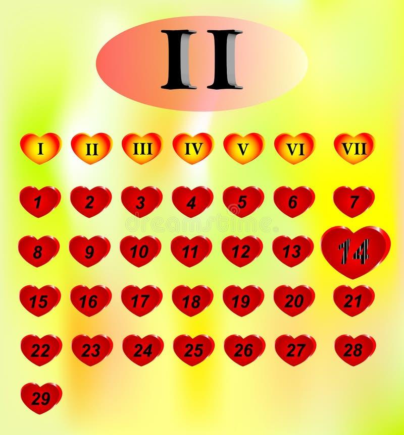 Valentine day calendar stock images