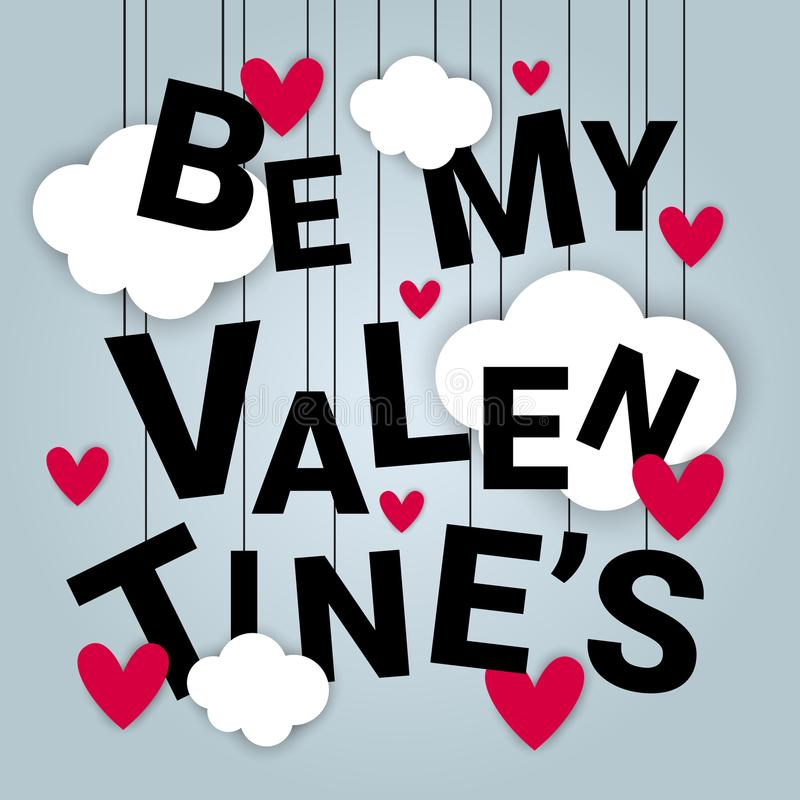 Valentine Day Card Background Concept With Paper Cut Clouds And Heart Shapes. Vector Illustration stock illustration