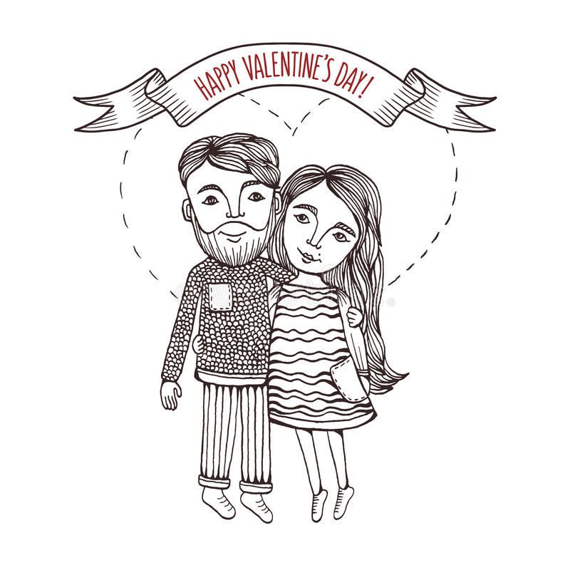Valentine day card with cartoon style boy and girl. Valentine day greeting card with hand drawn boy and girl with heart stroke behind. Pen graphic. Vintage royalty free illustration