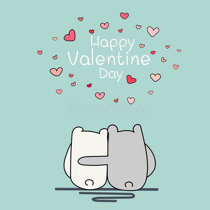 Valentine Day Card, ours deux mignon reposant et s'étreignant illustration libre de droits