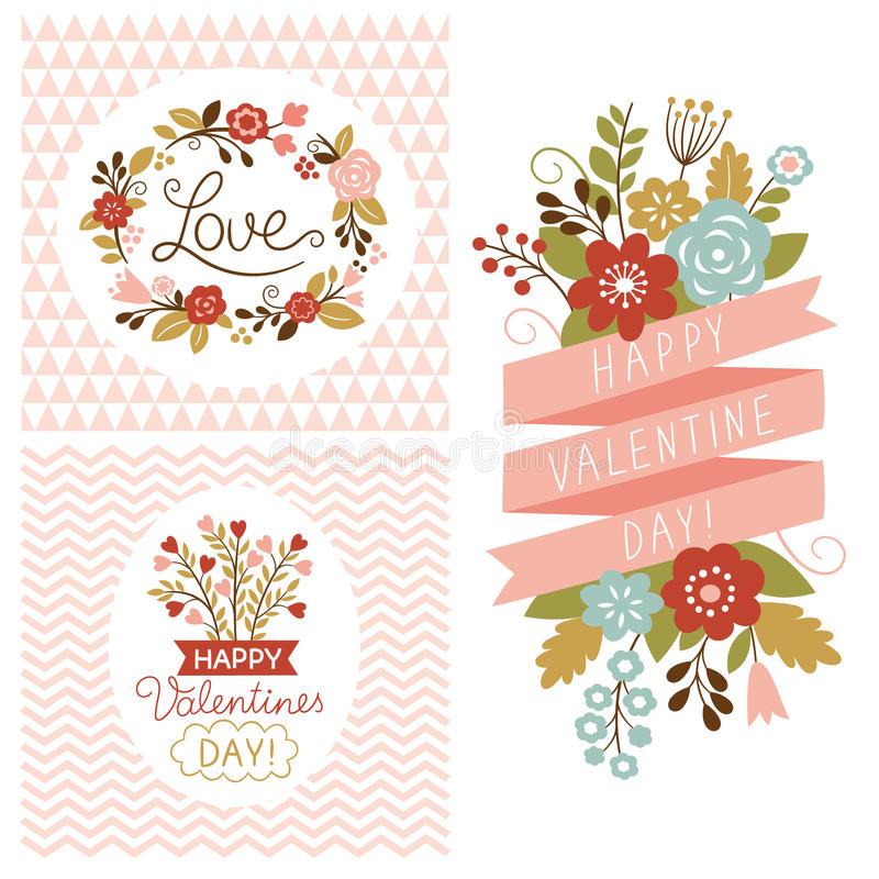 Valentine day cards. Graphic elements for greeting card vector illustration