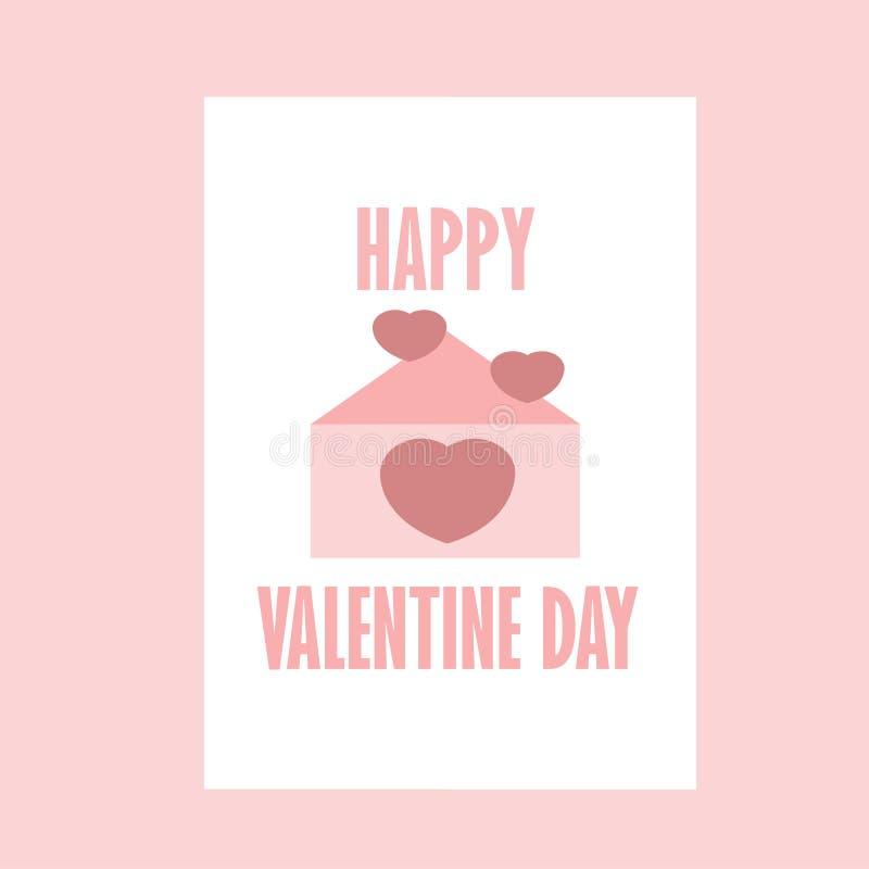 Valentine Day With Color Pink feliz amado letra - eu te amo ilustração do vetor