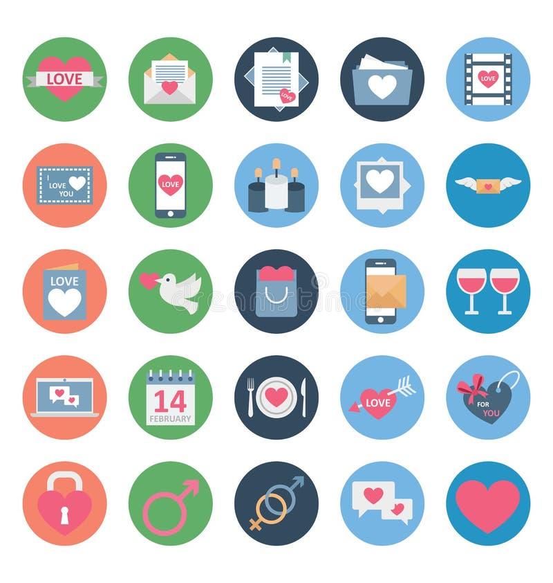 Valentine Day Color Vector Icons ställde in som kan lätt ändras eller redigera royaltyfri illustrationer