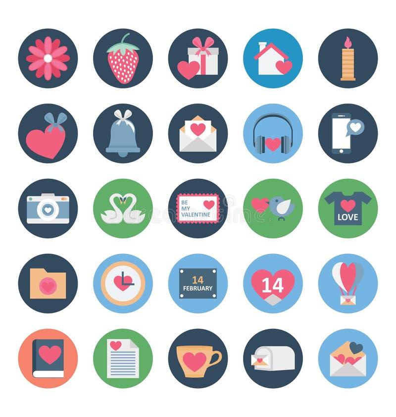 Valentine Day Color Vector Icons ställde in som kan lätt ändras eller redigera stock illustrationer