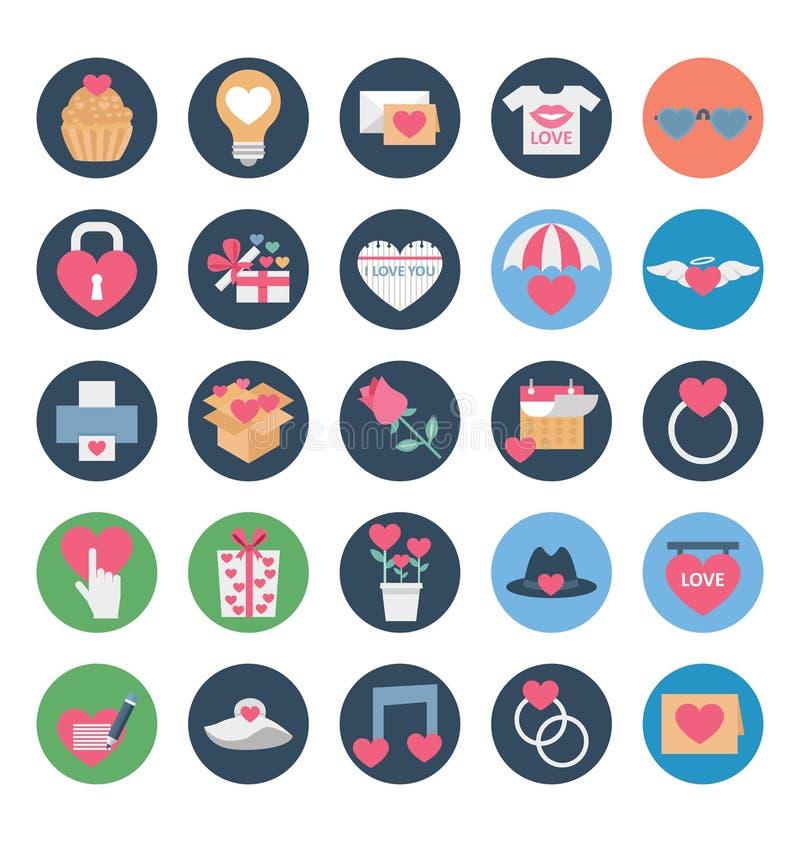 Valentine Day Color Vetora Icons ajustou-se que pode facilmente ser alterado ou editado ilustração stock
