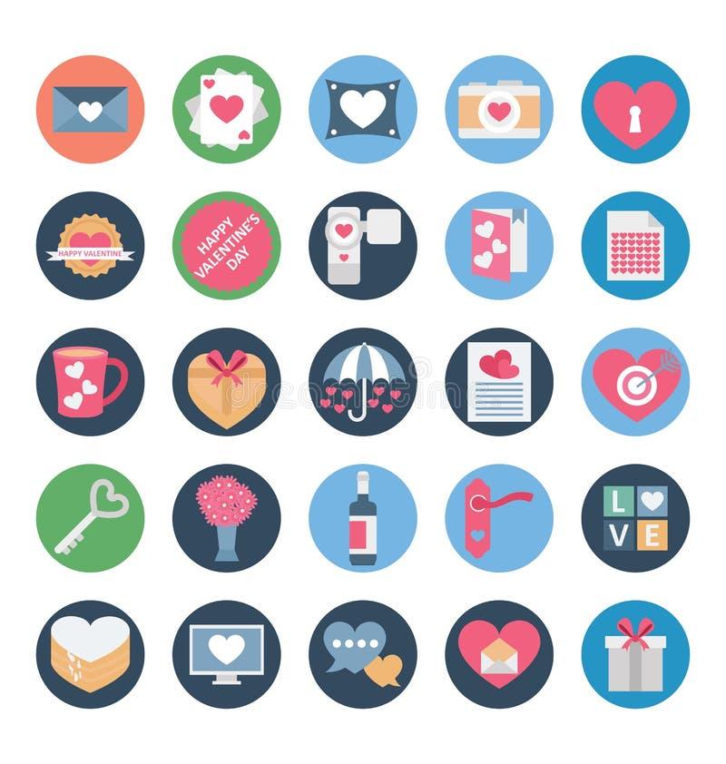 Valentine Day Color Vetora Icons ajustou-se que pode facilmente ser alterado ou editado ilustração do vetor