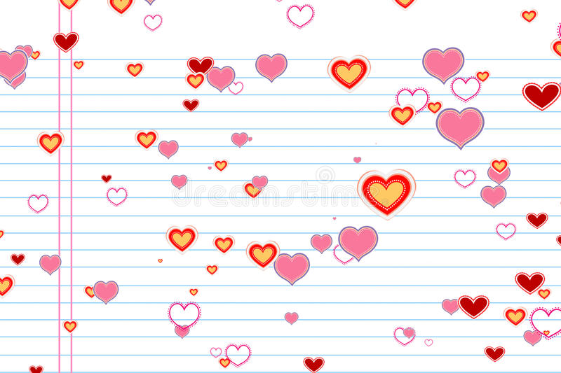 Valentine day colorful draw hearts shape on white paper school with rows background, holiday festive valentine day love stock illustration