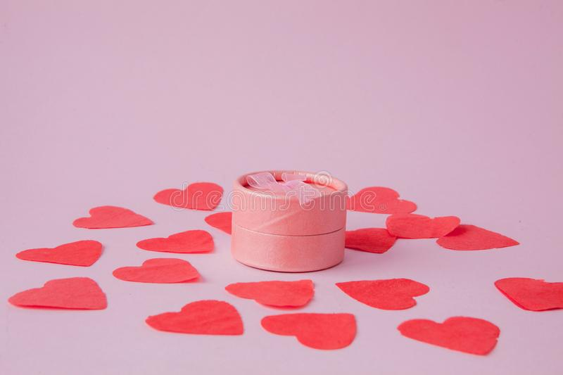 Valentine day composition: white gift boxes with bow and red felt hearts, photo template, background. Top View. View from above. stock image