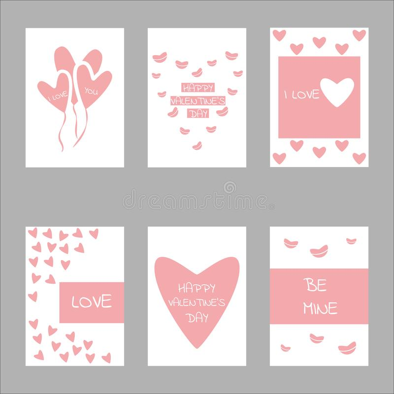 Valentine day concept design set collection. For banner, wallpaper, greeting card or poster and other royalty free illustration