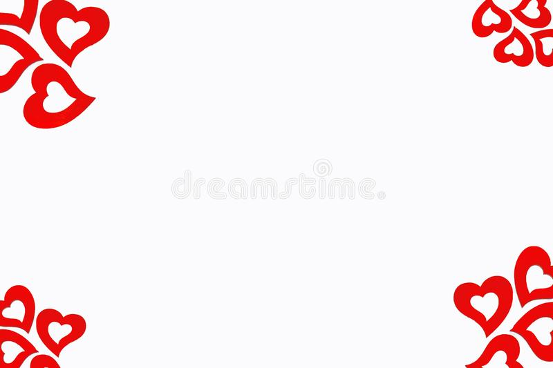 Valentine day concept. Red heart isolated on white background with copy space. stock images