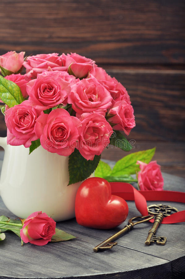 Download Valentine day concept stock photo. Image of dark, vase - 39174360