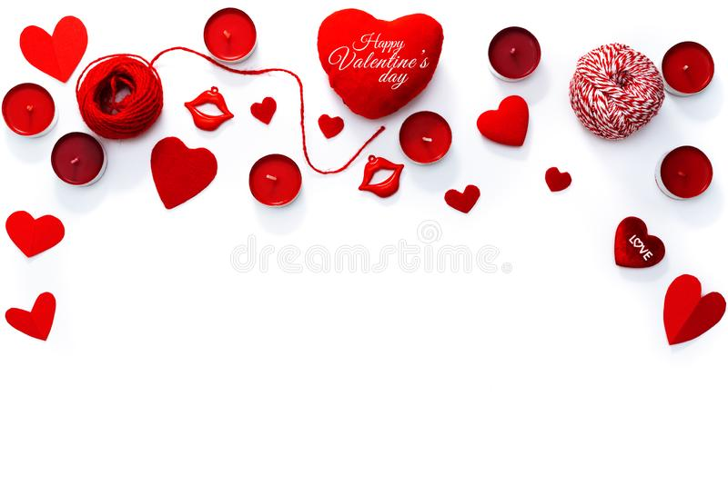 Valentine Day concept, white background with red hearts, love and candles royalty free stock photography