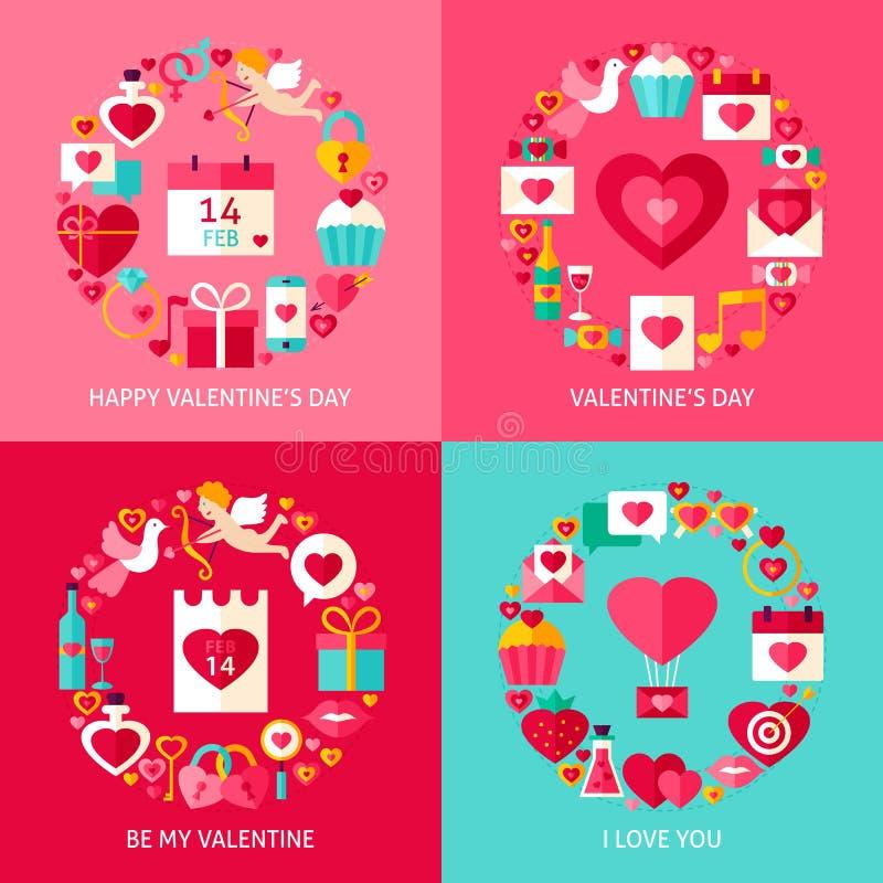 Valentine Day Concepts Set ilustração do vetor